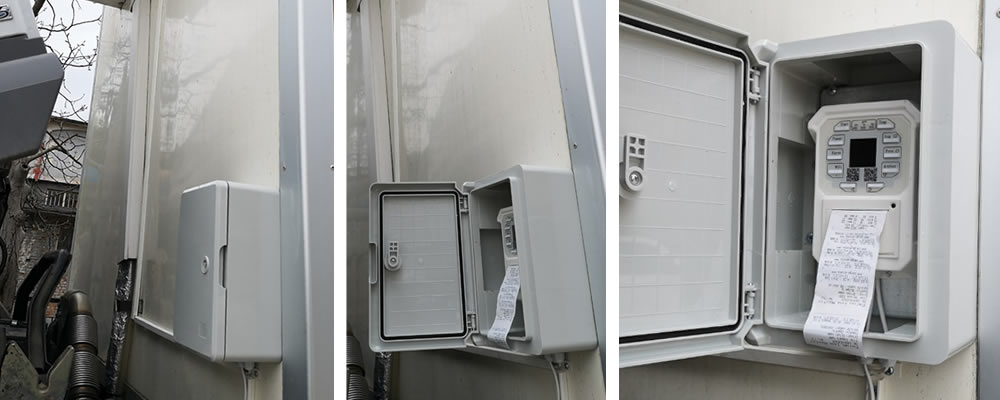 Cargo Log Master temperature logger mounted on a refrigerated trailer in a box for outdoor installation