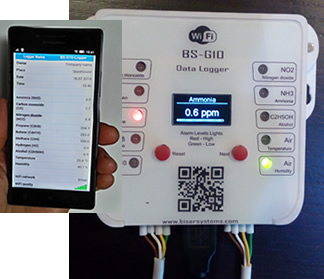 BS-G10 WiFi - 8 gas, temperature and humidity logger with WiFi access